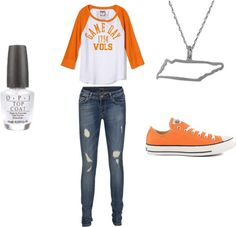 A fashion look from August 2012 featuring victoria secret tees, blue ripped skinny jeans and footwear. Browse and shop related looks. Tennessee Volunteers Football, Tennessee Football, University Of Tennessee, Tn Vols, Tennessee Girls, Orange Fashion, Hillbilly, Georgia Bulldogs, Panthers