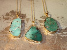 Gold Edged Chrysoprase Necklaces by KallisteNYC on Etsy, $42.00