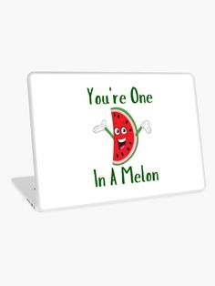 You're One In A Melon Cute Funny Watermelon Pun. This cute design of a smiling happy slice of watermelon makes a perfect present for Christmas or that special occasion.  Ideal for someone who loves melons and fruit whether in a fruit salad or a smoothie.  Enjoy this watermelon that is eaten like a fruit, though grown like a vegetable. #watermelon #melon #fruit #vegetable #summer #foods #smoothie #giftideas #homedecor #artsandcrafts #stickers #redbubblestickers #redbubble #ad @giftsbyminuet Red Bubble Stickers, One In A Melon, This Is Us Quotes, Laptop Skin, Cute Designs, Be Yourself Quotes, Fruit Salad, Vinyl Decals