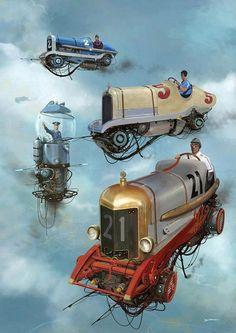 Turbo-Reactive Diesel-Punk: Flying Retro Cars By Alejandro Burdisio