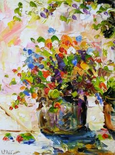 'Patio Pot' Flowers in a Pot, Garden Art Daily Oil Painting by Texas Artist Laurie Pace -- Laurie Justus Pace