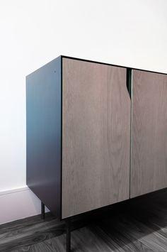 Blackened Steel Panel & Oak Front Panels.