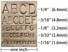 Metal stamped letter sizing by hester
