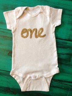 Short Sleeve first birthday onesie by OliveandBirdie on Etsy, $15.00