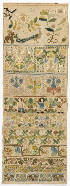 Sampler, late 17th century. Medium: silk embroidery on linen foundation Technique: embroidered in running, double running, herringbone, stem, back, eyelet, cross, knot and satin stitches with detached looping on plain weave foundation
