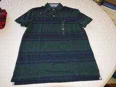 Mens Tommy Hilfiger Polo shirt Striped 7880966 Dark Green 319 M Classic NWT #TommyHilfiger #polo