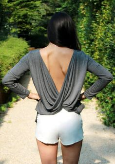 Draped V-back Top