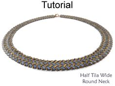 Half Tila Beaded Wide Round Neck Necklace Design Using 2 Hole Miyuki Beads Jewelry Making Pattern Tutorial by Simple Bead Patterns | Simple Bead Patterns