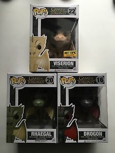 Funko Pop Game of Thrones 3 Dragons Rhaegal Viserion Drogon Vinyl Figure