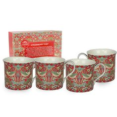 A delightful set of William Morris Strawberry Thief Mugs are a wonderful gift idea. This set of 4 fine china mugs are presented in an attractive gift box Red Kitchen, Kitchen Gifts, The Strawberry Thief, China Mugs, Arts And Crafts Movement, Textile Artists, William Morris, Mugs Set, Mug Cup
