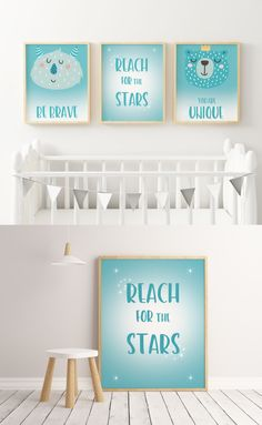 ☆ A Beautiful Nursery Decor Set of 3 Prints for Your Little Boy. Two characters images with text and one quote.