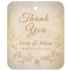 The Vintage thank you gift tag is the perfect favor decoration or gift tag for weddings and engagements. This gift tag can be personalised with the names of the Bride and Groom, as well as the event date. Clink to find out more! #gifttag #weddinggifttag #weddingfavour #weddingfavor