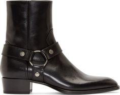Saint Laurent - Black Leather Harness Wyatt Boots