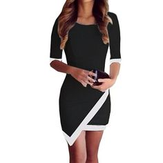 SMTSMT Women's Summer Bandage Bodycon Evening Party Irregular Mini Dress ** You can find out more details at the link of the image. (This is an affiliate link) #ClubbingDress