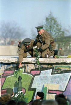 Flowers for GDR Border Guards (November 10, 1989) #ddrmuseum #berlin More information on Berlin: visitBerlin.com
