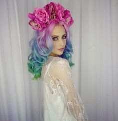 Designer Clothes, Shoes & Bags for Women Neon Hair, Pastel Hair, Purple Hair, Locks, Jimin, Color Magic, Rainbow Hair, Pretty Hairstyles, Hair Looks