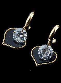 Gold Diamond Heart Earrings 4.80