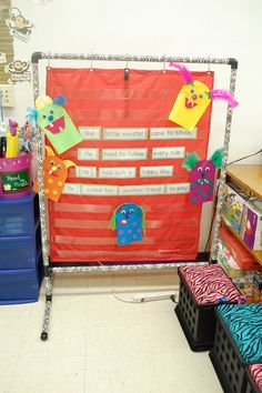 Pocket Chart Stand made with PVC pipe and duct tape to cover it! Super cheap way to make this instead of buying it!
