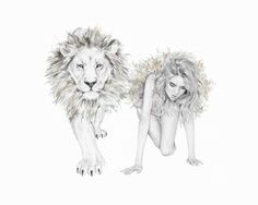 Illustration Ltd is proud to exclusively represent Kelly Smith, a professional Illustrator based in Germany. Kelly Smith specializes in fashion, beauty, pencil and graphic design illustrations. Kelly Smith, People Illustration, Graphic Design Illustration, Illustration Art, Lion And Lioness, Lion Love, Zodiac Art, Anime Zodiac, Leo Zodiac