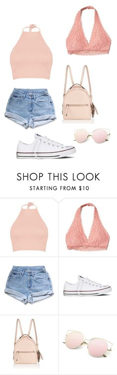 """""""pink lova"""" by angelinajalali ❤ liked on Polyvore featuring Boohoo, Hollister Co., Levi's, Converse and Fendi"""