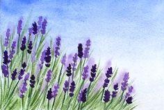 Dipinto di acquerello viola fiori lavanda acquerello, arte originale di lavanda, 5 x 7 pollici, originale, lavanda campo arte