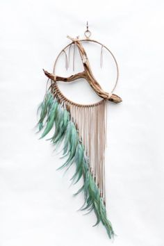 Driftwood Dreamcatcher, Jay – tan leather dream catcher – Keep up with the times. Dream Catcher Art, Diy And Crafts, Arts And Crafts, Deco Boheme, Driftwood Art, Crafty Craft, Crafting, Diy Art, Wind Chimes