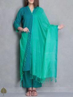 Green Maheshwari Silk Cotton Dupatta