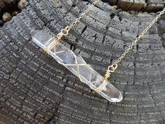 Your place to buy and sell all things handmade Crystal Jewelry, Crystal Necklace, Gemstone Jewelry, Quartz Jewelry, Gold Bar Necklace, Diy Necklace, Necklaces, Wire Wrapped Jewelry, Wire Jewelry