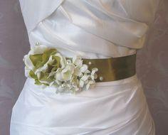 Sage Green Bridal Sash Bright Olive Green by TheRedMagnolia, $55.00