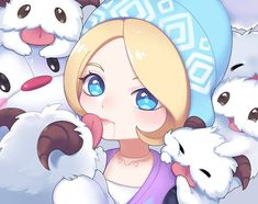 That is a lot of poro Orianna League Of Legends, Lol League Of Legends, Xayah And Rakan, Fanart, Son Goku, Character Design References, Champions, Funny Comics, Chibi