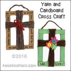 Cardboard and Yarn Cross Craft for Children's Ministry from www.daniellesplac… Cardboard and Yarn Cross Craft for Children's Ministry from www. Children's Church Crafts, Vbs Crafts, Camping Crafts, Preschool Crafts, Wood Crafts, Camping Ideas, Camping Hacks, Sunday School Activities, Church Activities