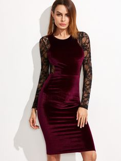 Shop Burgundy Contrast Lace Back And Sleeve Velvet Pencil Dress online. SheIn offers Burgundy Contrast Lace Back And Sleeve Velvet Pencil Dress & more to fit your fashionable needs.