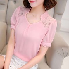 Free shipping 2016 Summer New Women lace shirt Hollow Fashion Casual short-sleeved chiffon blouse Shirt Plus size ladies Tops                                                                                                                                                     Más