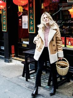 Best fashion instagrams of the week: Lucy Williams of Fashion Me Now wears a shearling coat from Mother Denim