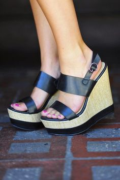 """Wedges are SO cute! A fun and """"safer"""" alternative to sky high heels, they can almost feel like you're wearing flats if you get the right pa..."""