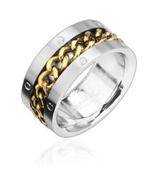 Gold Spinning Chain Center 316 L Stainless Steel Ring