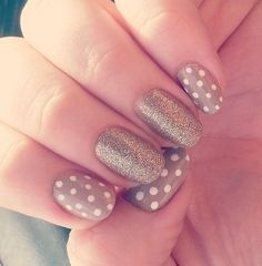Polka Dot and Glitter Nail Art