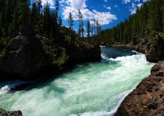 Free Image on Pixabay - River Above Lower Yellowstone Falls Free Pictures, Wyoming, Beautiful World, Royalty Free Images, Wilderness, Woods, Public, Trees, River