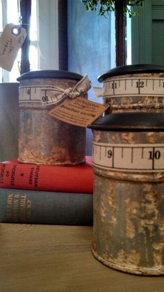 soy candles in old tins