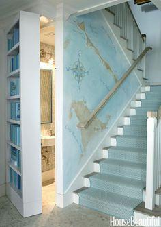 beach house stairway + secret bathroom