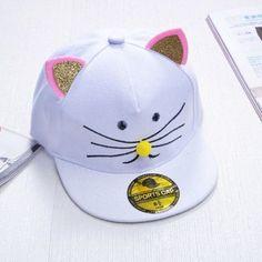 456ece680db Cat Ear Snapback Caps for Kids Fancy Embroidery Baseball Cap