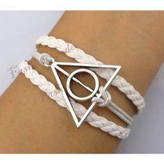 Deathly Hallows Bracelet, Harry potter bracelet--Antique Silver, Wax... ($2.99) ❤ liked on Polyvore