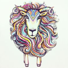 Watercolor illustration by Natasha Kudashkina Inspired by Chinese New year 2015 Year of the Sheep