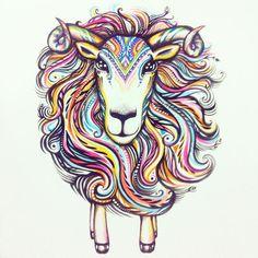 Watercolor illustration by Natasha Kudashkina Inspired by Chinese New year 2015 Year of the Sheep