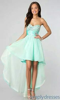 Green high low dress with beads gowns платья, одежда, наряды 8th Grade Dance Dresses, 8th Grade Graduation Dresses, School Dance Dresses, 8th Grade Formal Dresses, School Dances, Dress Formal, Junior Party Dresses, Homecoming Dresses, Prom Gowns