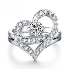 New Sweet Heart With Crystal Women's Ring - USD $36.95