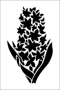 Hyacinth stencil from The Stencil Library GARDEN ROOM range. Buy stencils online. Stencil code GR11.