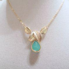 Turquoise feuille déclaration collier collier par ellejewels, $24.00