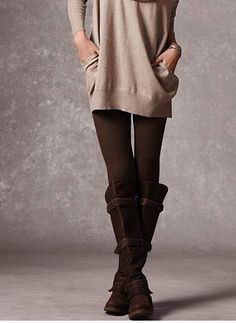 brown boots + brown leggings + sweater    the brown leggings is the hardest thing ever to match up with