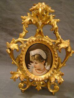 Antique Victorian Lady Miniature Porcelain Portrait Painting Wood Carved Frame | ~ SSAOBX.COM